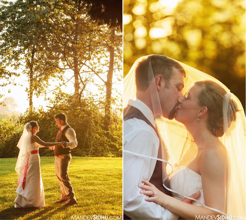 Bride Groom Sunset Golden Hour Portraits outdoor country-inspired wedding
