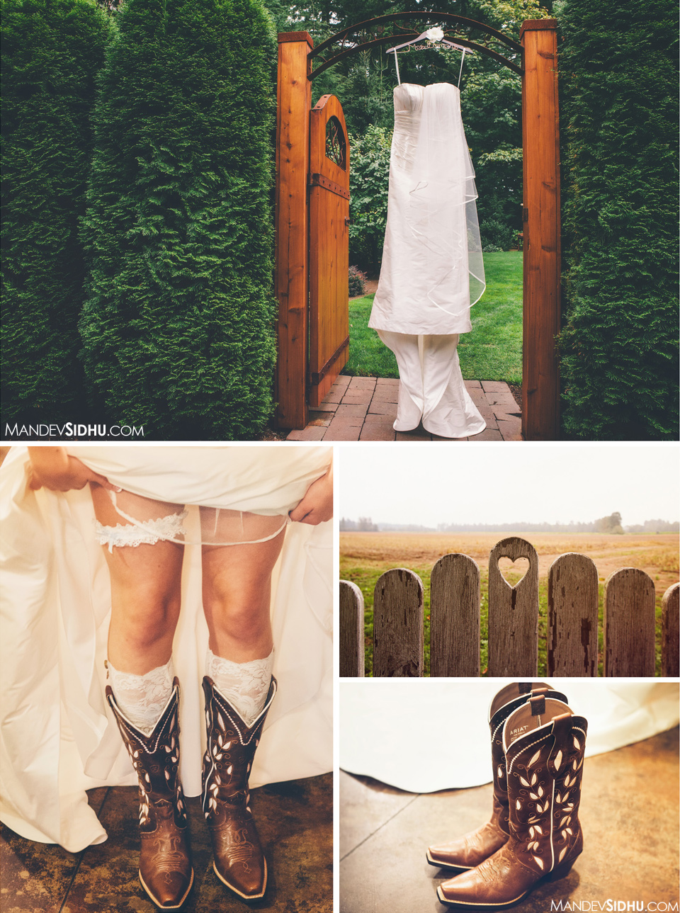bride wearing cowgirl boots at outdoor country wedding in Whatcom County Evergreen Gardens