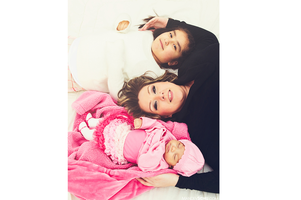 Mother and two daughters portrait