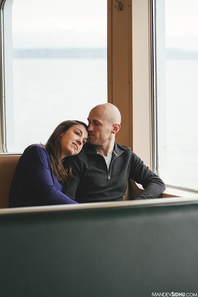 couple sitting inside ferry