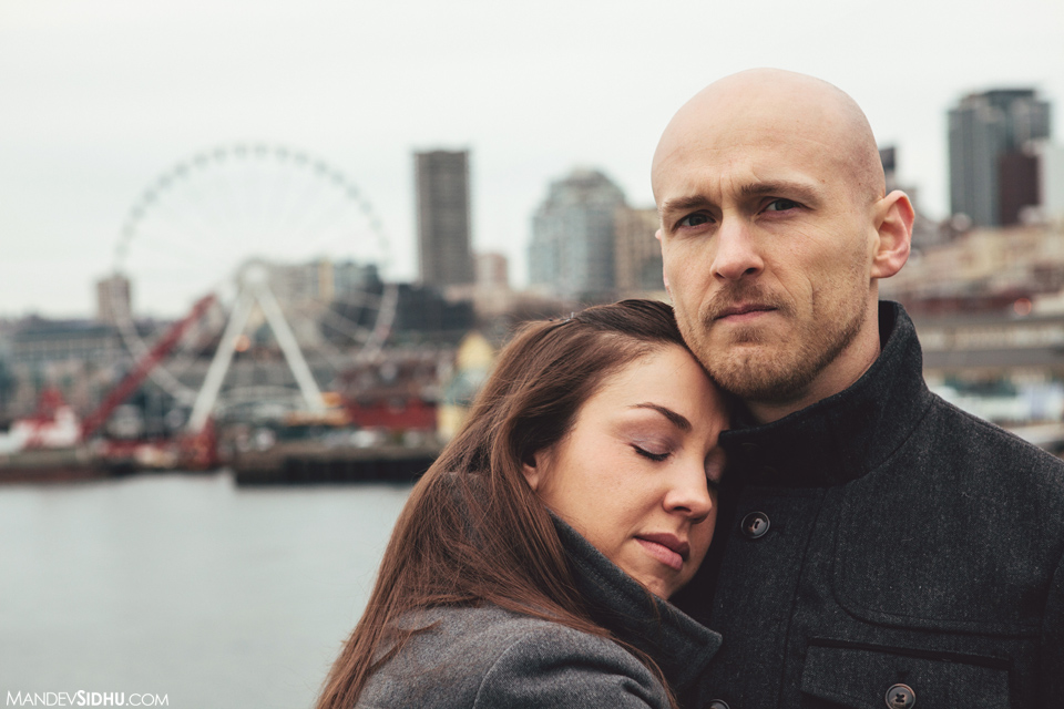 Seattle Engagement photo on Ferry