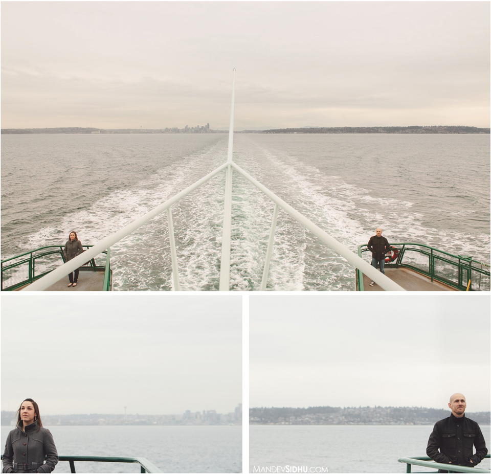 engagement photo couple standing on back of ferry