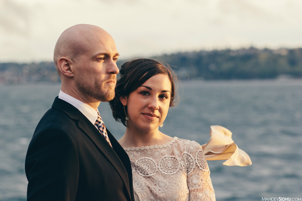 Seattle Waterfront Bride Groom Sunset Photo