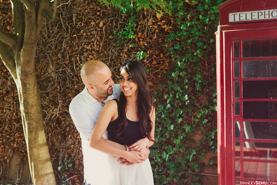 red telephone booth engagement photo Bellingham