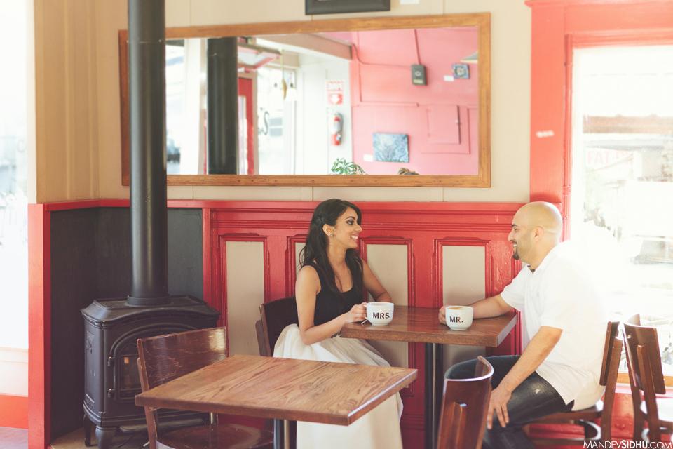 Tony's Coffee engagement photo happy couple