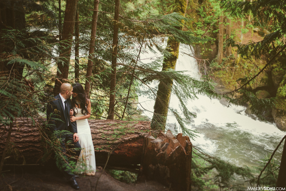 Pacific Northwest Engagement photo in trees next to river
