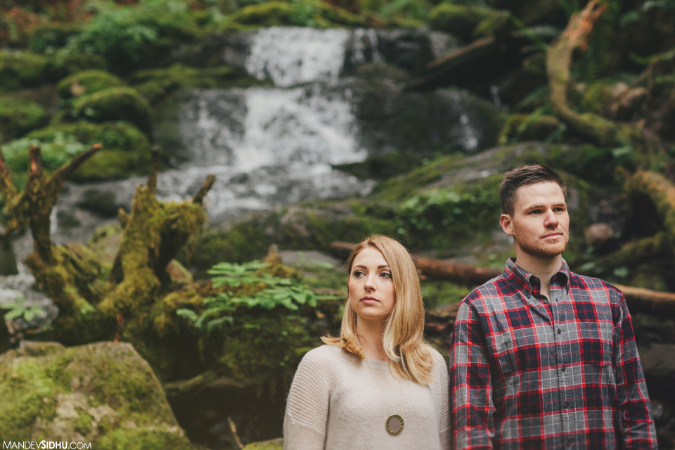 Engagement photo with waterfall in Pacific Northwest