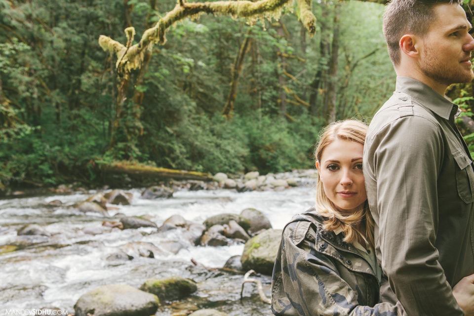 Beautiful engagement photo next to river Seattle Nature