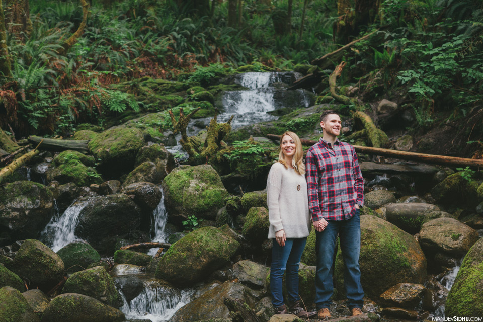 Waterfall Engagement Photo in Seattle Pacific Northwest