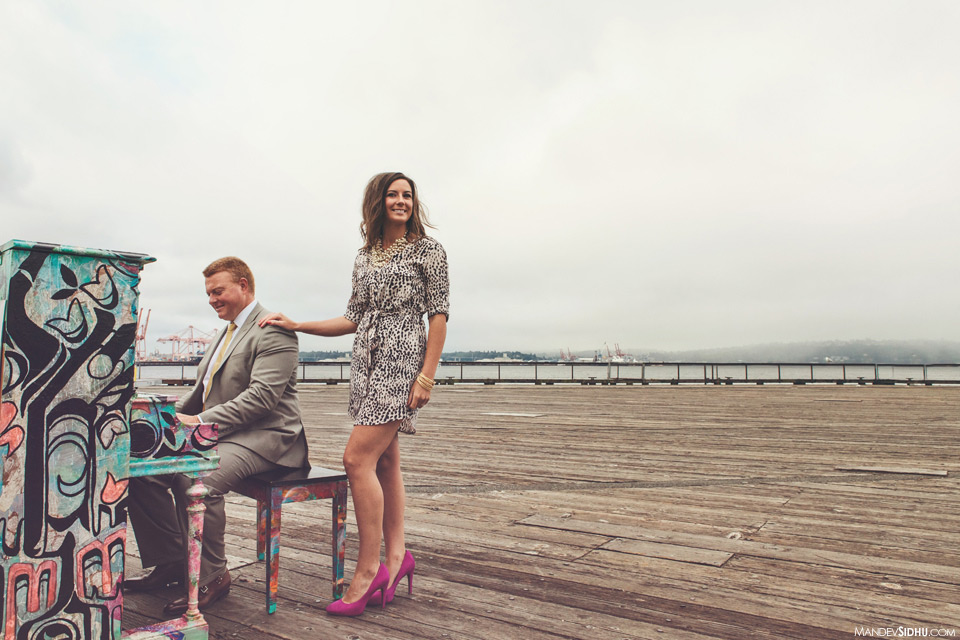 piano in the park engagement photo