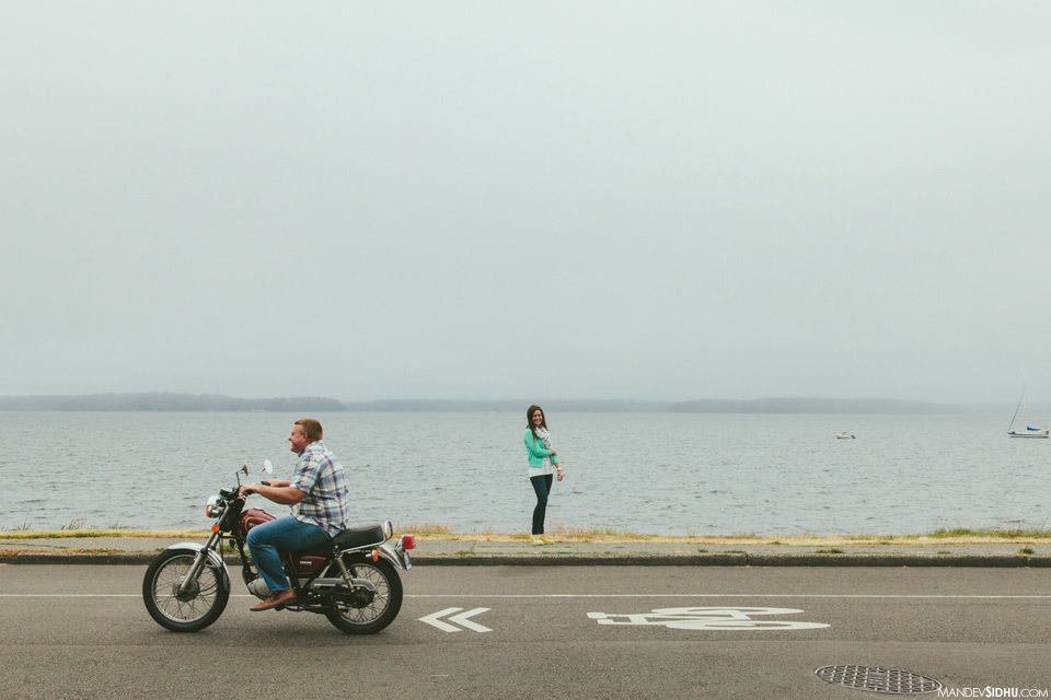 West Seattle motorcycle engagement photo