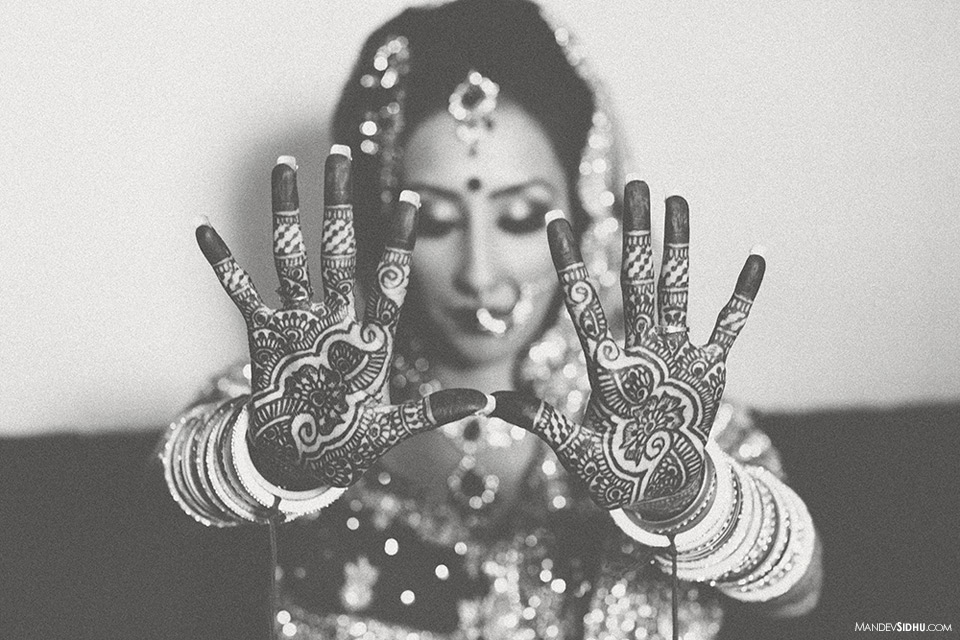 Indian Henna on bride's hands