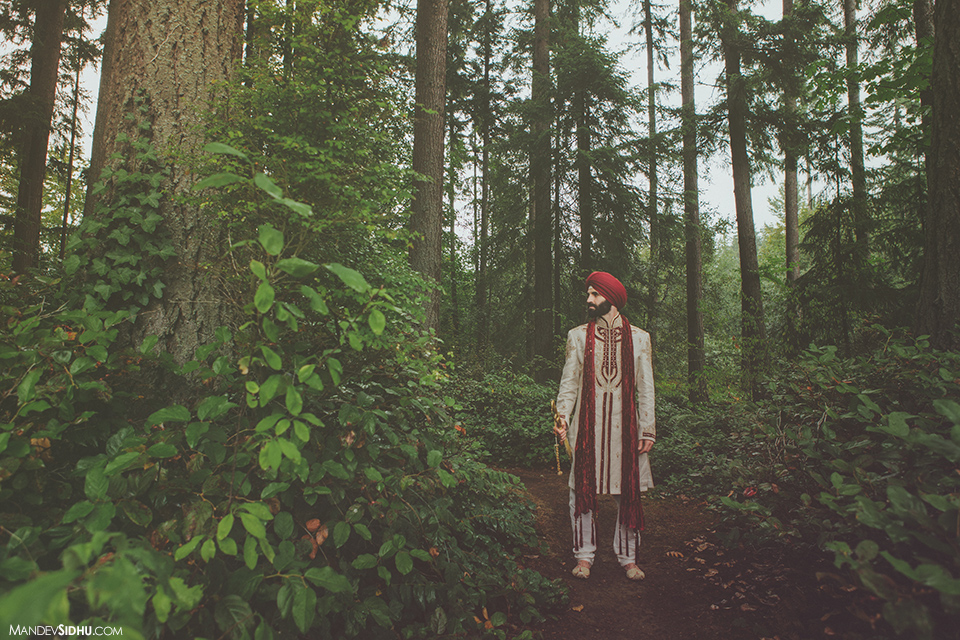 American groom wearing sherwani and red turban in Seattle
