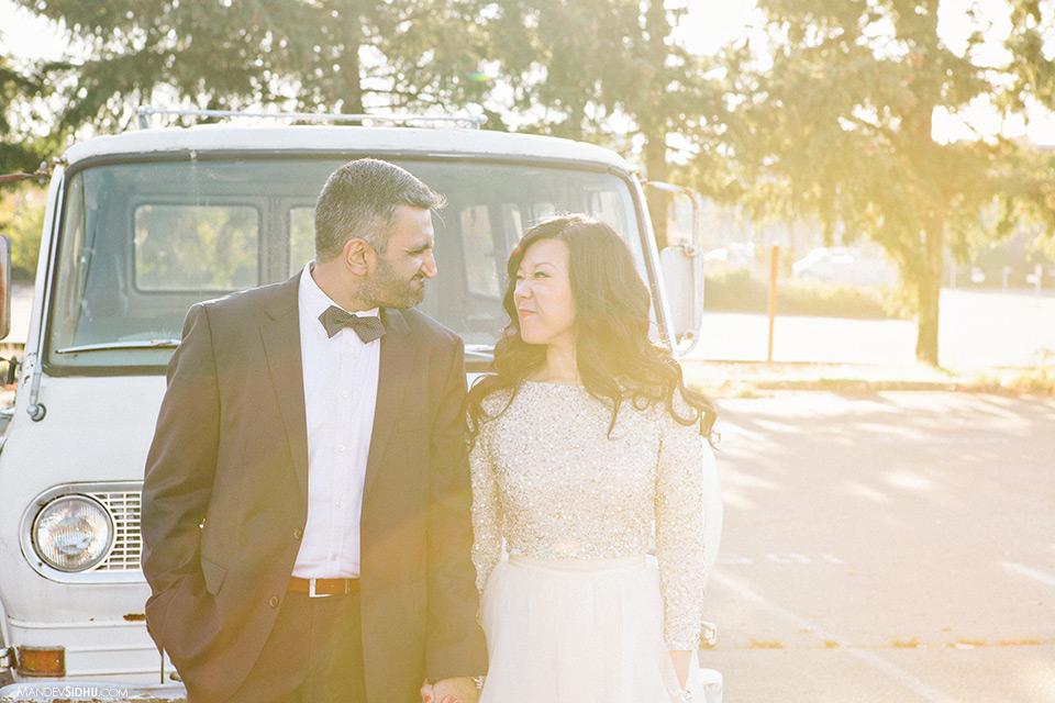 Ballard engagement photo in front of VW van