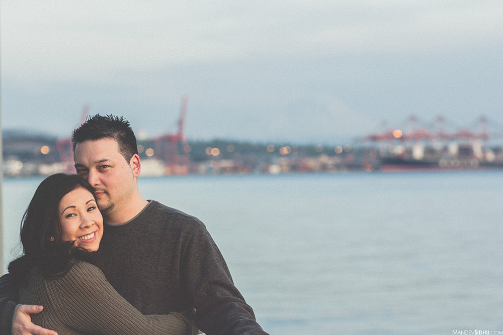 seattle waterfront sunset engagement photo