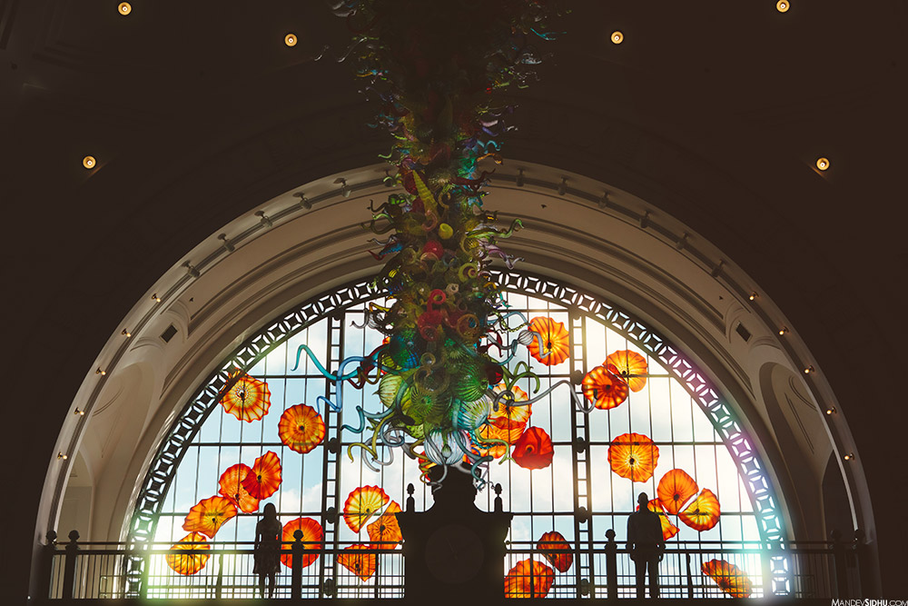 Tacoma union station engagement with Chihuly glass art