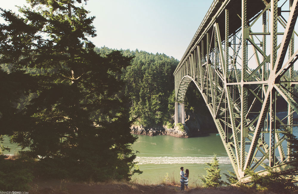 deception pass engagement with bridge and trees