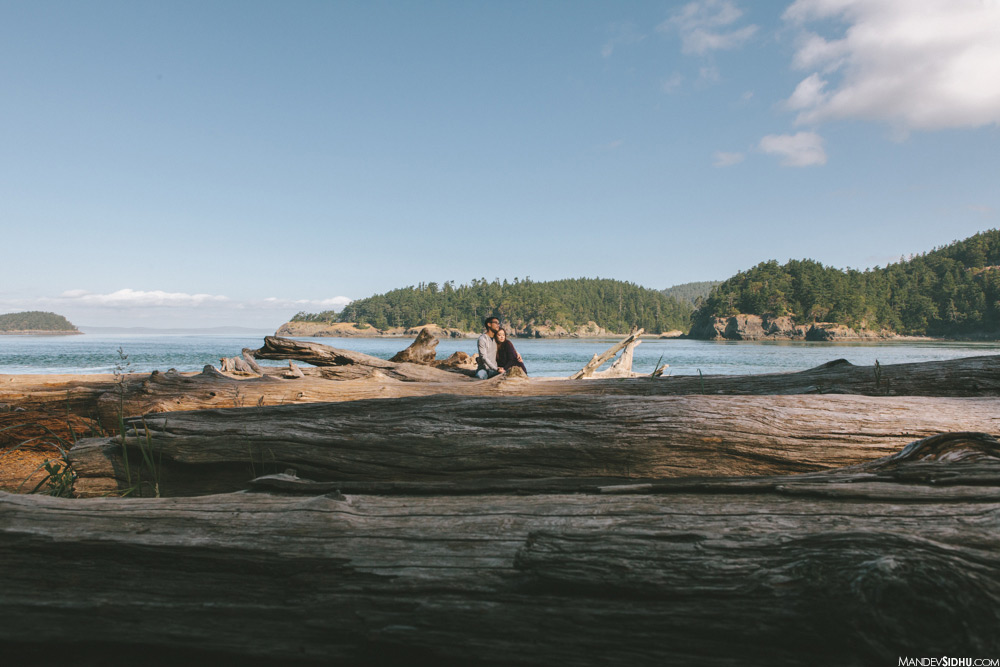 deception pass engagement, sitting on driftwood by the water