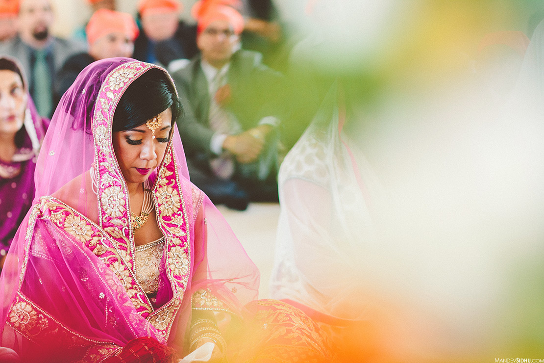 Asian bride at Sikh multicultural fusion wedding in Seattle
