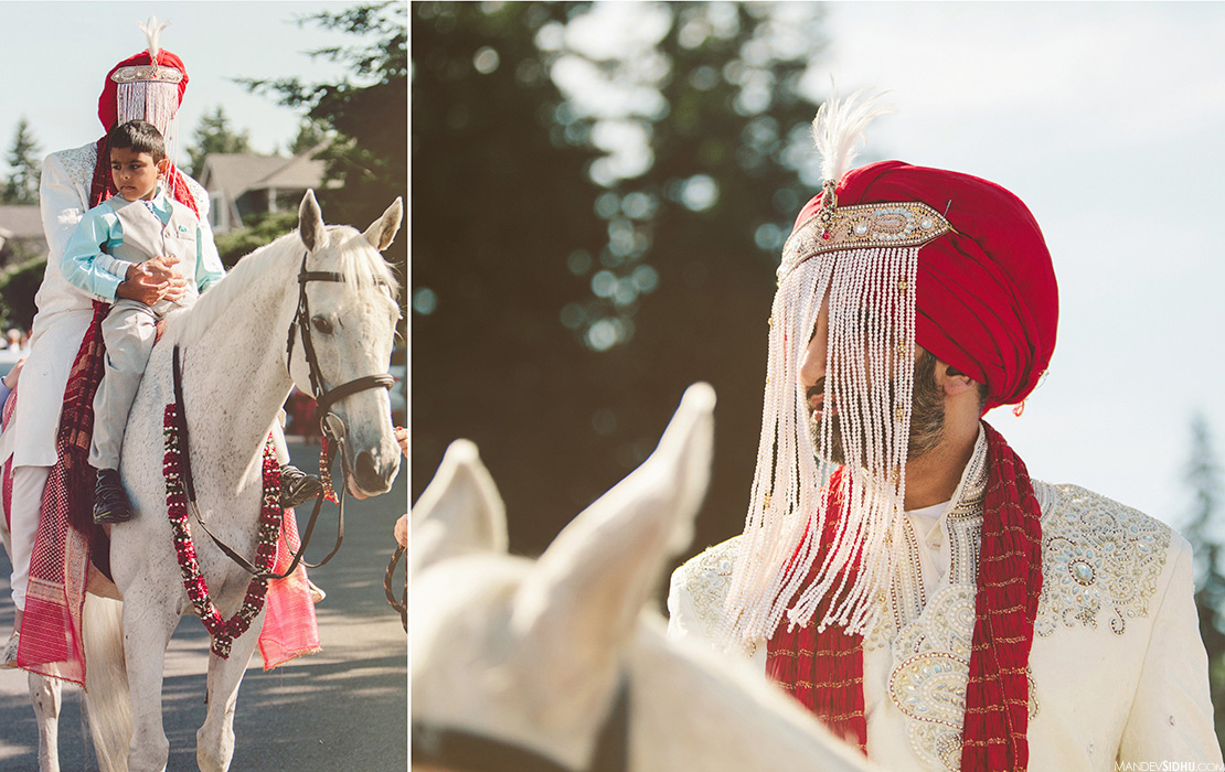 Sikh Groom on white horse during baraat