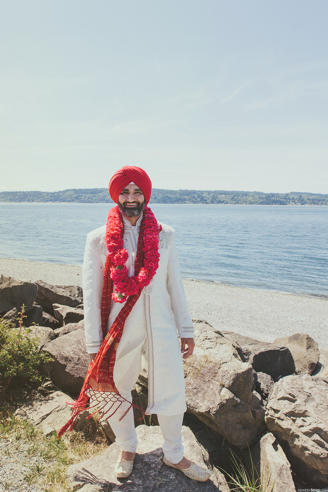 Indian Wedding Photography Everett - groom standing on beach
