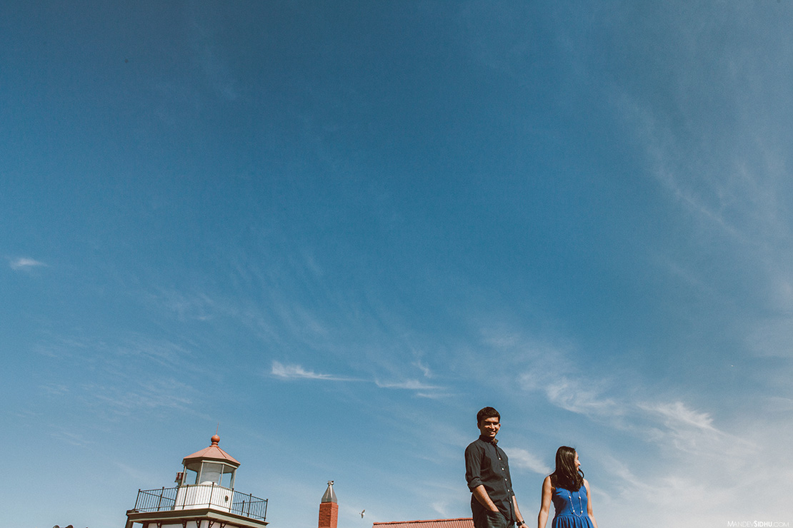 discovery park lighthouse engagement photo