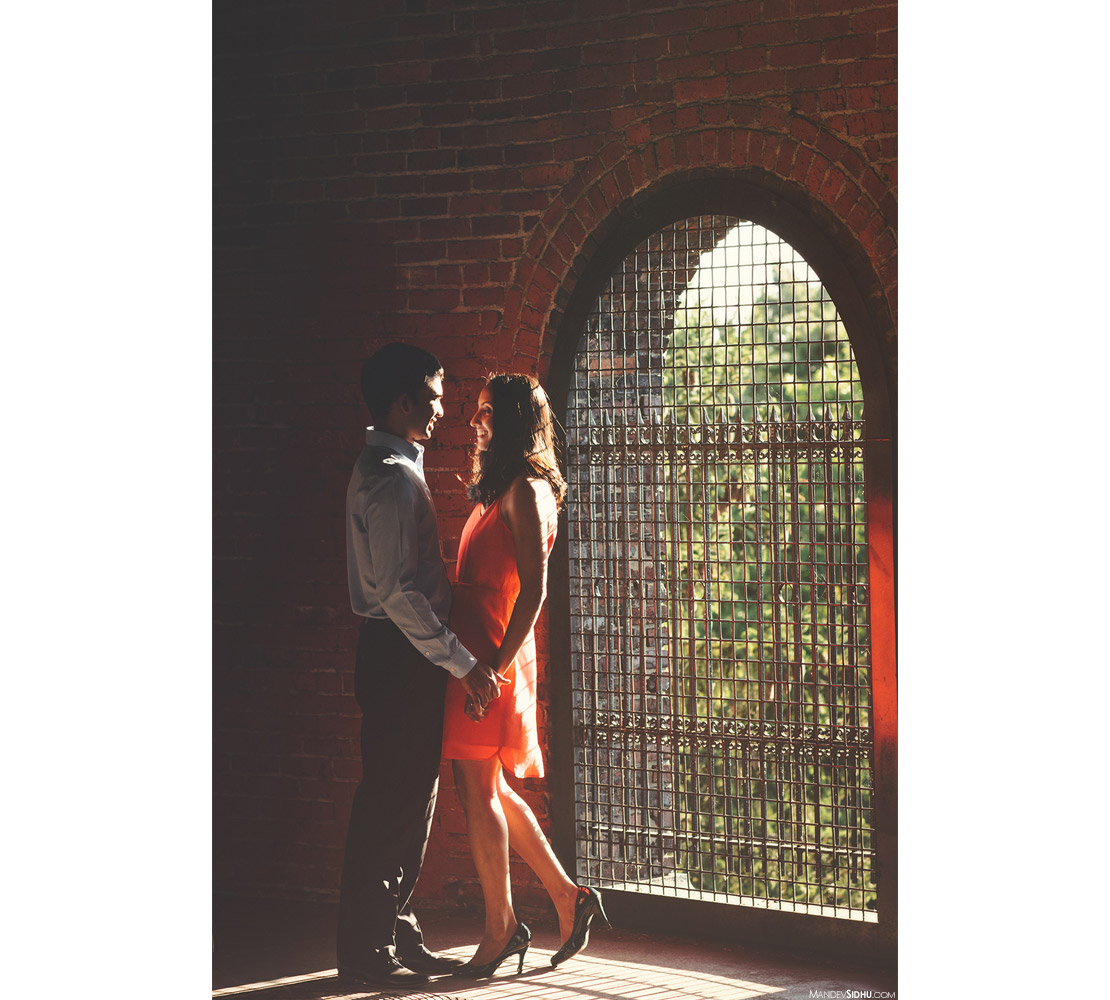 engagement photos in water tower at Volunteer Park in Capitol Hill