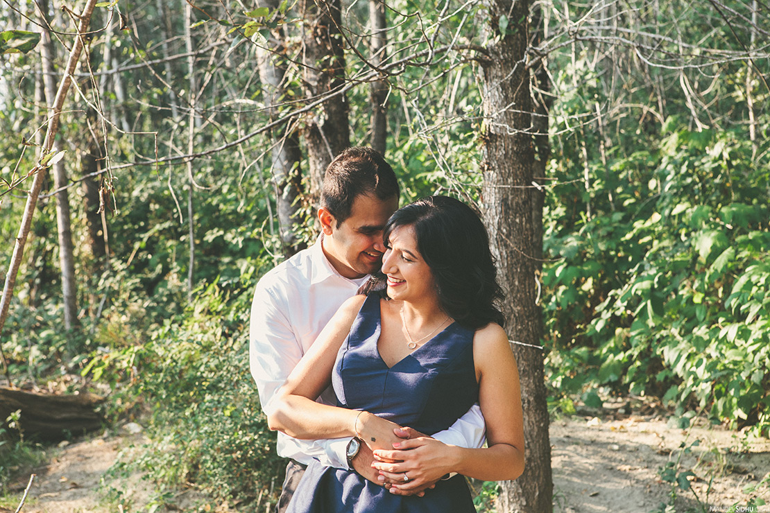 Indian engagement photos in forest and along snoqualmie river in Issaquah