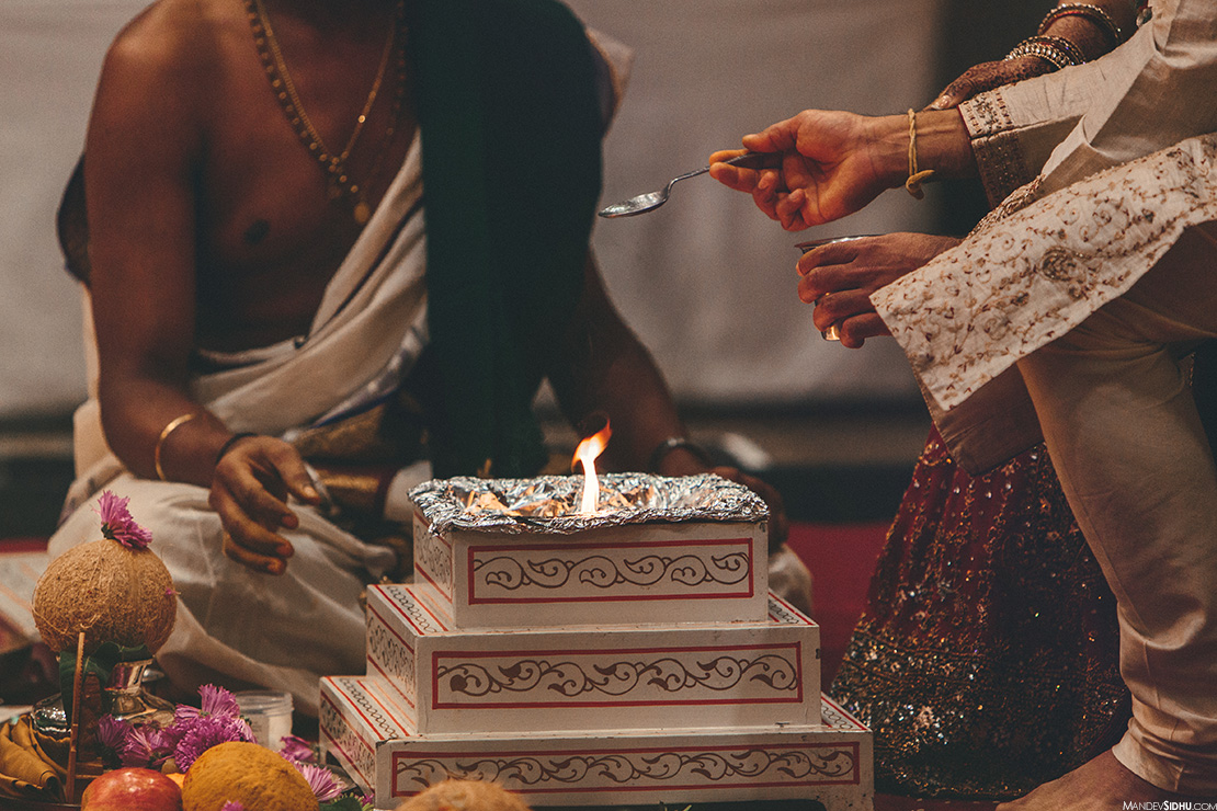 Sacred Fire, Agni, groom lighting the fire with ghee