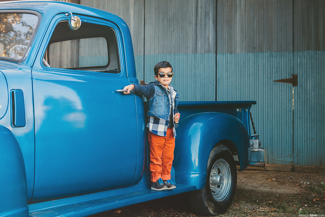old, blue, pickup truck for this Fall family photo session in Snohomish, WA