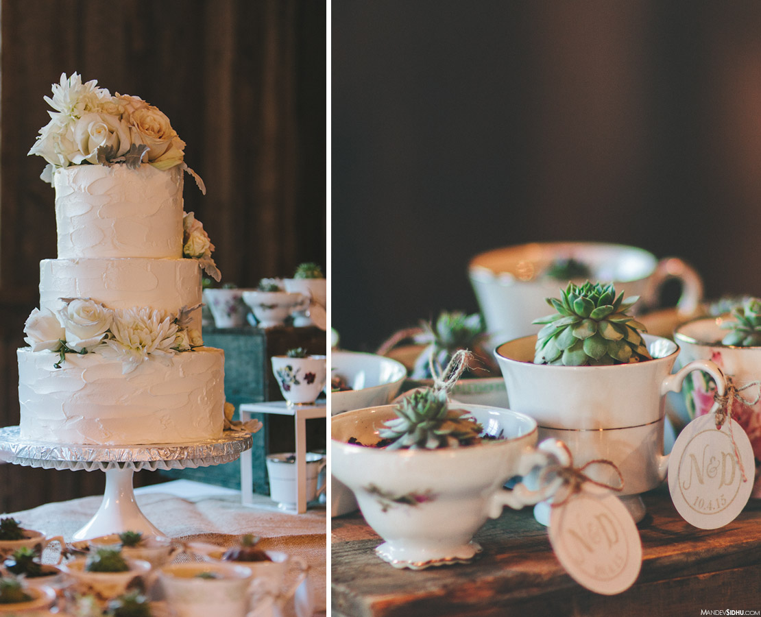 rustic vintage wedding cake and succulents inside teacups
