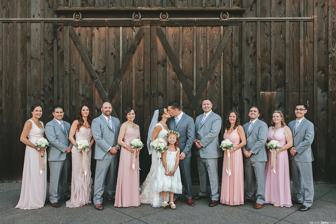 rustic barn bridal party photo