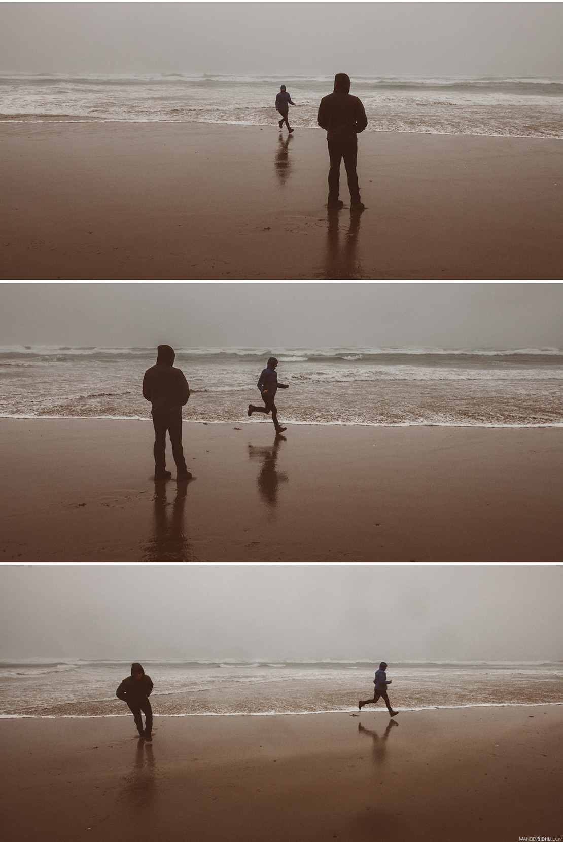 Running and playing on Oregon Coast Beach during storm