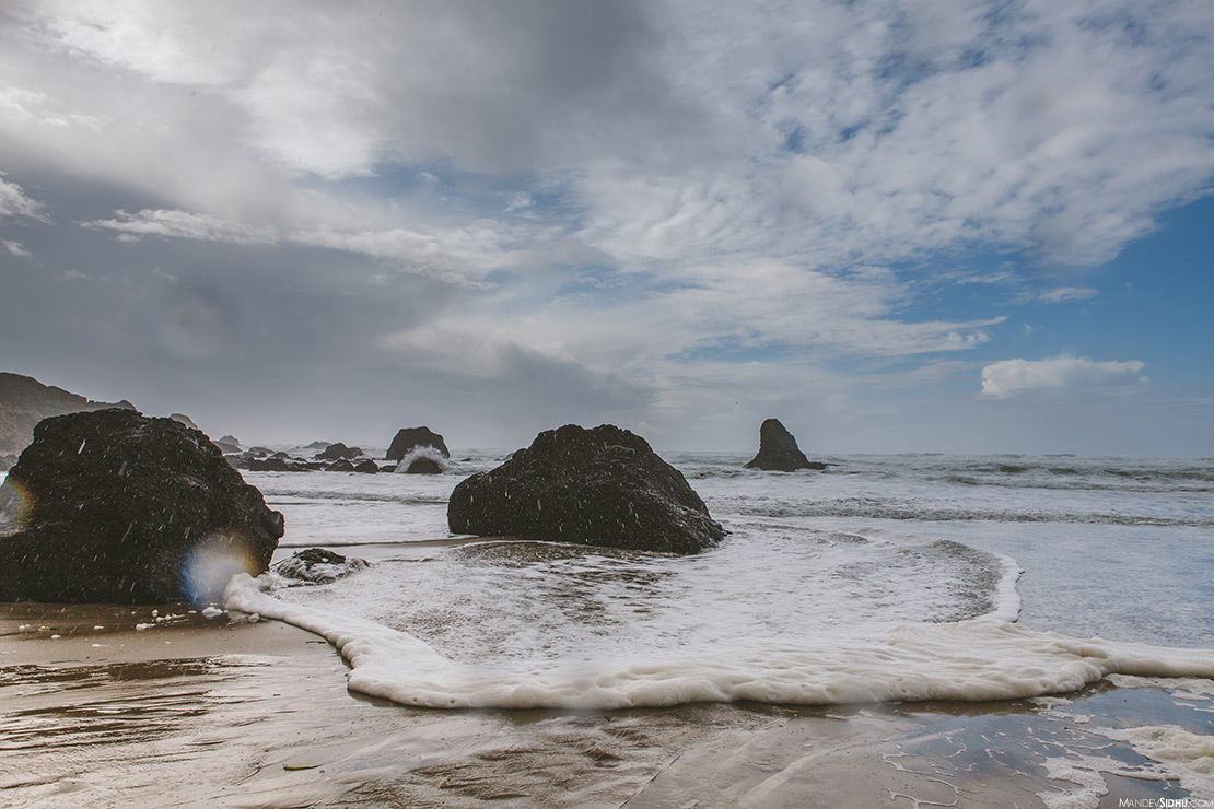 Waves and Rocks at Indian Beach on the Oregon Coast