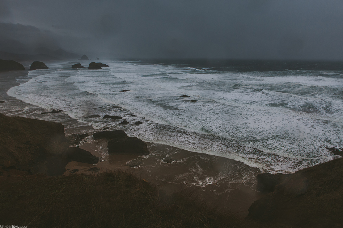 Storm and waves at Indian Beach on Oregon Coast